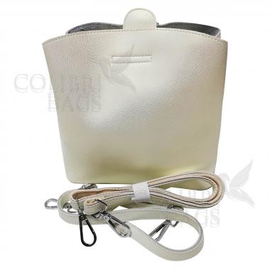 Женская кожаная сумка ARUBA без кисточки. Белый перламутр.