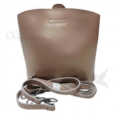 Женская кожаная сумка ARUBA без кисточки. Бежевый перламутр.