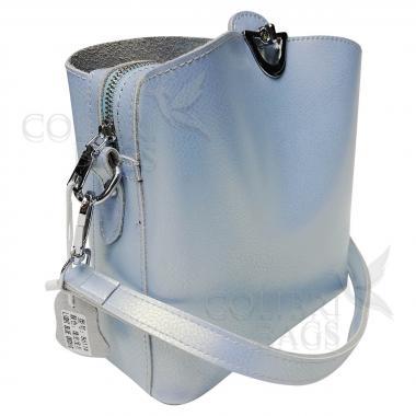 Женская кожаная сумка ARUBA без кисточки. Голубой перламутр.