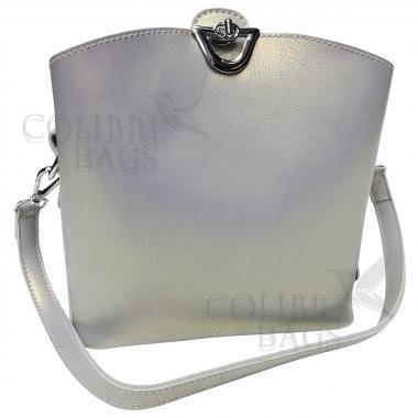 Женская кожаная сумка ARUBA без кисточки. Серый перламутр.