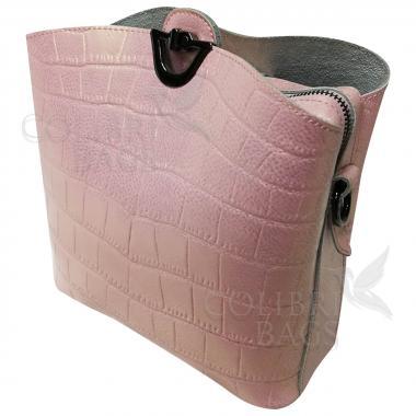 Женская кожаная сумка Aruba Piton. Розовый перламутр.