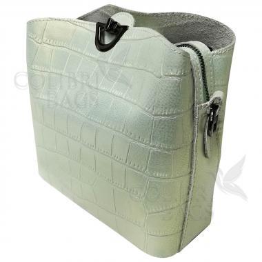 Женская кожаная сумка Aruba Piton. Салатовый перламутр.