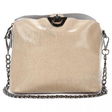 Женская кожаная сумка ARUBA с цепочкой. Бежевый.
