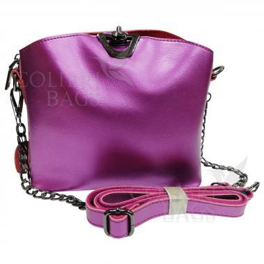 Женская кожаная сумка ARUBA с цепочкой. Аметист.