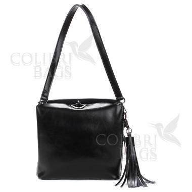 Женская кожаная сумка ARUBA с кисточкой. Черный.