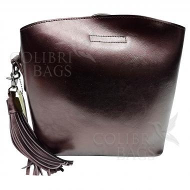 Женская кожаная сумка ARUBA с кисточкой. Кофе жемчужный.