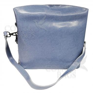 Женская кожаная сумка ARUBA с кисточкой.  Голубой