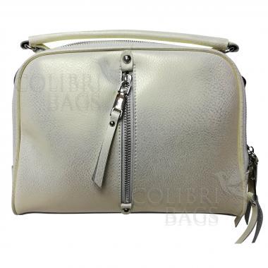 Женская кожаная сумка Bianka. Белый перламутр.