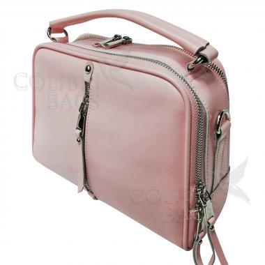 Женская кожаная сумка Bianka. Нежно-розовый.