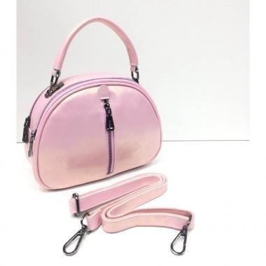 Женская кожаная сумка BIANKA MINI LIGHT. Розовый перламутр.