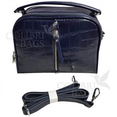Женская кожаная сумка Bianka Piton. Темно-синий.