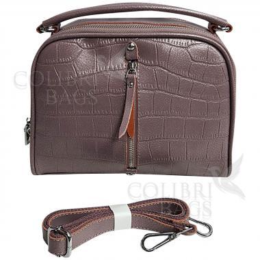 Женская кожаная сумка Bianka Piton. Лиловый перламутр.