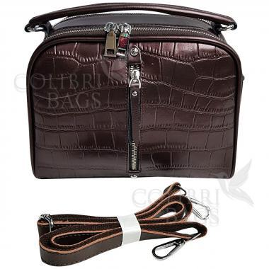 Женская кожаная сумка Bianka Piton. Кофе жемчужный.