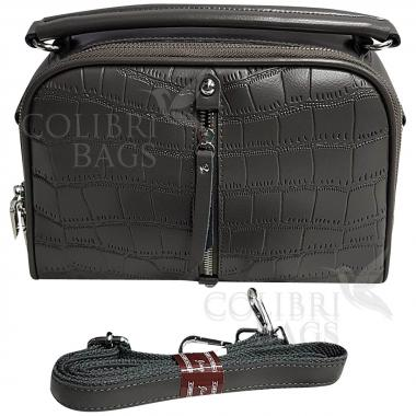 Женская кожаная сумка Bianka Piton. Пепельный.
