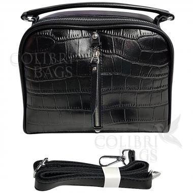 Женская кожаная сумка Bianka Piton. Черный.