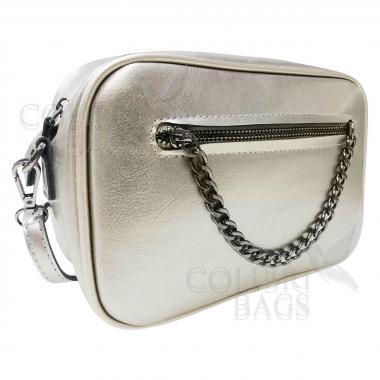 Женская кожаная сумка Bogema. Серебро