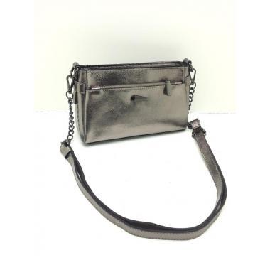 Женская кожаная сумка-клатч BONIA. СЕРЕБРО.