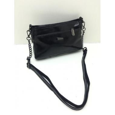 Женская кожаная сумка-клатч BONIA. ЧЕРНЫЙ.