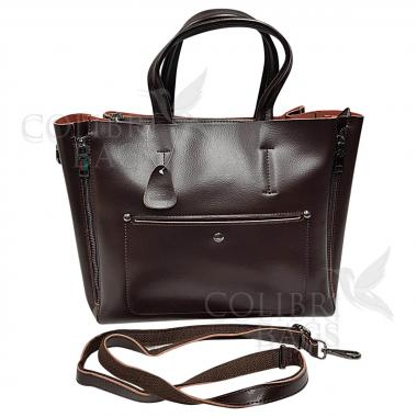 Женская кожаная сумка Bora. Шоколад