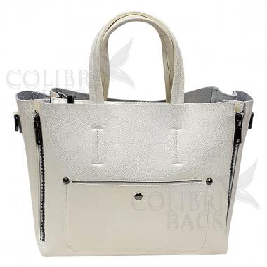 Женская кожаная сумка Bora. Белый перламутр