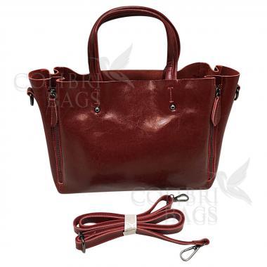 Женская кожаная сумка Boston. Гранат