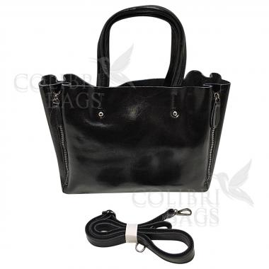 Женская кожаная сумка Boston. Черный