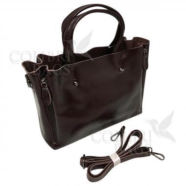Женская кожаная сумка Boston. Шоколад
