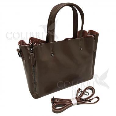 Женская кожаная сумка Boston. Песочный