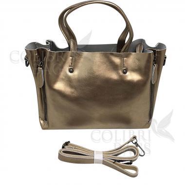 Женская кожаная сумка Boston. Бронза