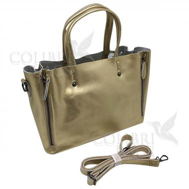 Женская кожаная сумка Boston. Золото