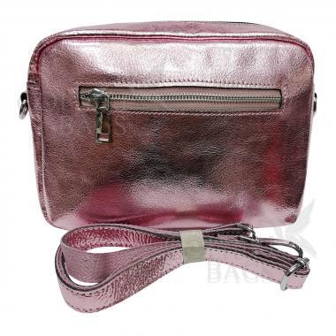 Женская кожаная сумка BROODY. Розовый металлик
