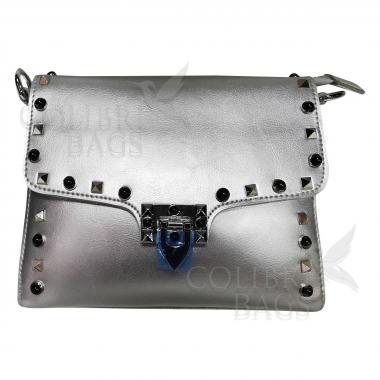 Женская кожаная сумка Castella. Серебро