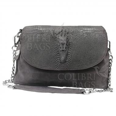 Женская кожаная сумка CAYMA MINI. Пепельный.