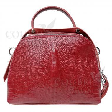 Женская кожаная сумка Caymanika Box. Гранат