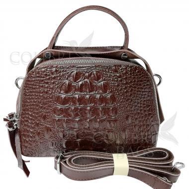 Женская кожаная сумка Caymanika Box. Шоколад