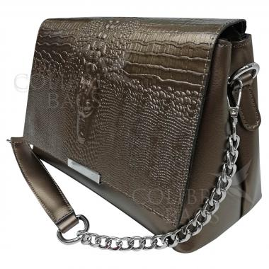 Женская сумка из натуральной кожи Caymanika Clatch. Бронза.