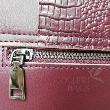 Женская кожаная сумка CAYMANIKA NOVA. Ежевичный.