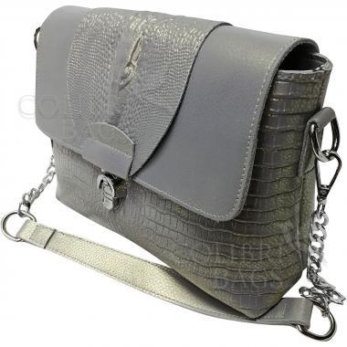 Женская кожаная сумка CAYMANIKA NOVA. Серый перламутр.