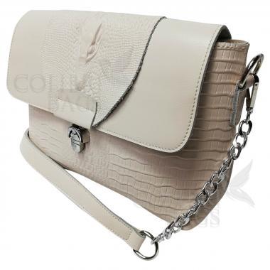 Женская кожаная сумка CAYMANIKA NOVA. Слоновая кость.
