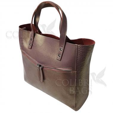 Женская кожаная сумка CELEBRITY. Бежевый перламутр.