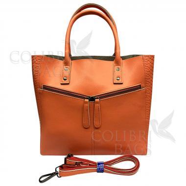 Женская кожаная сумка CELEBRITY PITON. Мандариновый.