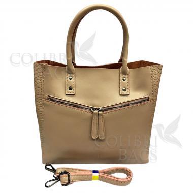 Женская кожаная сумка CELEBRITY PITON. Пудровый.