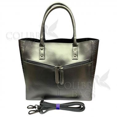 Женская кожаная сумка CELEBRITY PITON. Серебро.
