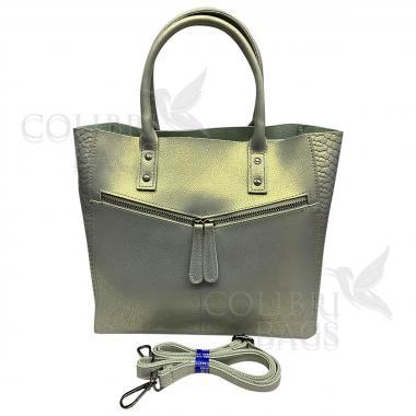 Женская кожаная сумка CELEBRITY PITON. Серый перламутр.