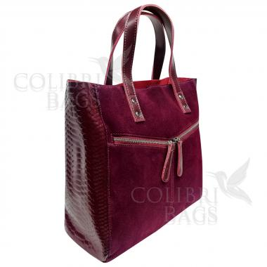 Женская кожаная сумка CELEBRITY ЗАМША ПИТОН. Ежевичный.