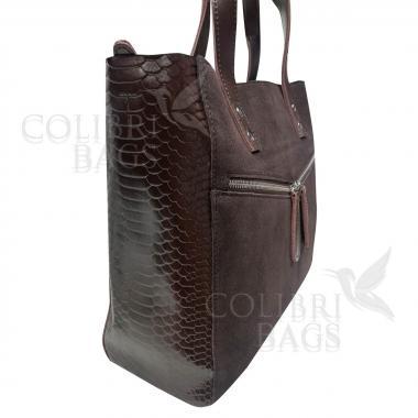 Женская кожаная сумка CELEBRITY ЗАМША ПИТОН. Шоколад.