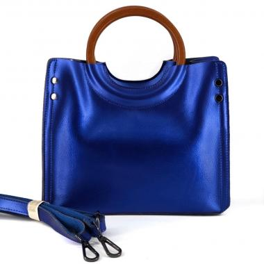 Женская кожаная сумка Cesaria Wood. Сапфир