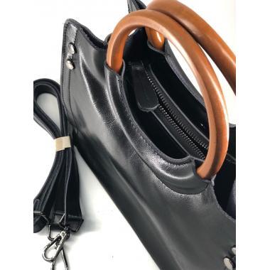 Женская кожаная сумка Cesaria Wood. Черный