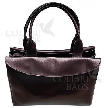 Женская кожаная сумка-портфель City Classic. Кофе жемчужный