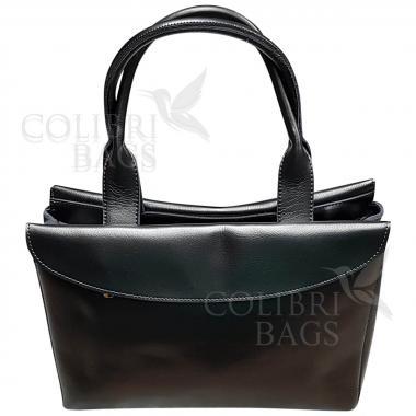 Женская кожаная сумка-портфель City Classic. Стальной